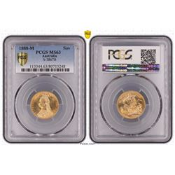 Australia, Victoria, Sovereign, 1888-M, PCGS MS63