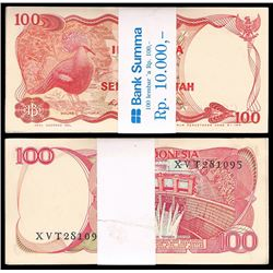 Indonesia One Hundred Rupiah (P.11a), Bundle, 1963