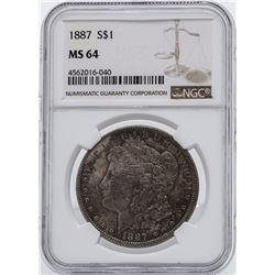 1887 $1 Morgan Silver Dollar Coin NGC MS64 Toning