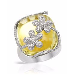 18KT White Gold 28.19ctw Yellow Quartz and Diamond Ring