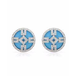 14KT White Gold 8.68ctw Turquoise and Diamond Earrings