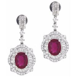 18KT White Gold 4.63ctw Ruby and Diamond Earrings