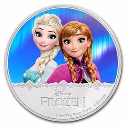 2016 $2 Disney Frozen Anna and Elsa Niue Silver Coin