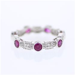 14KT White Gold 1.31ctw Ruby and Diamond Ring