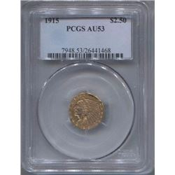 1915 $2 1/2 Indian Head Quarter Eagle Gold Coin PCGS AU53
