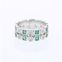 14KT White Gold 0.73ctw Emerald and Diamond Ring