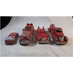 Lot of 4 Vintage Aluminum Fire Trucks & Car