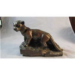 Vintage Cast Metal Mountain Lion Coin Bank by Banthrico in Chicago IL