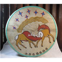 Painted Native American Hand Drum & Beater