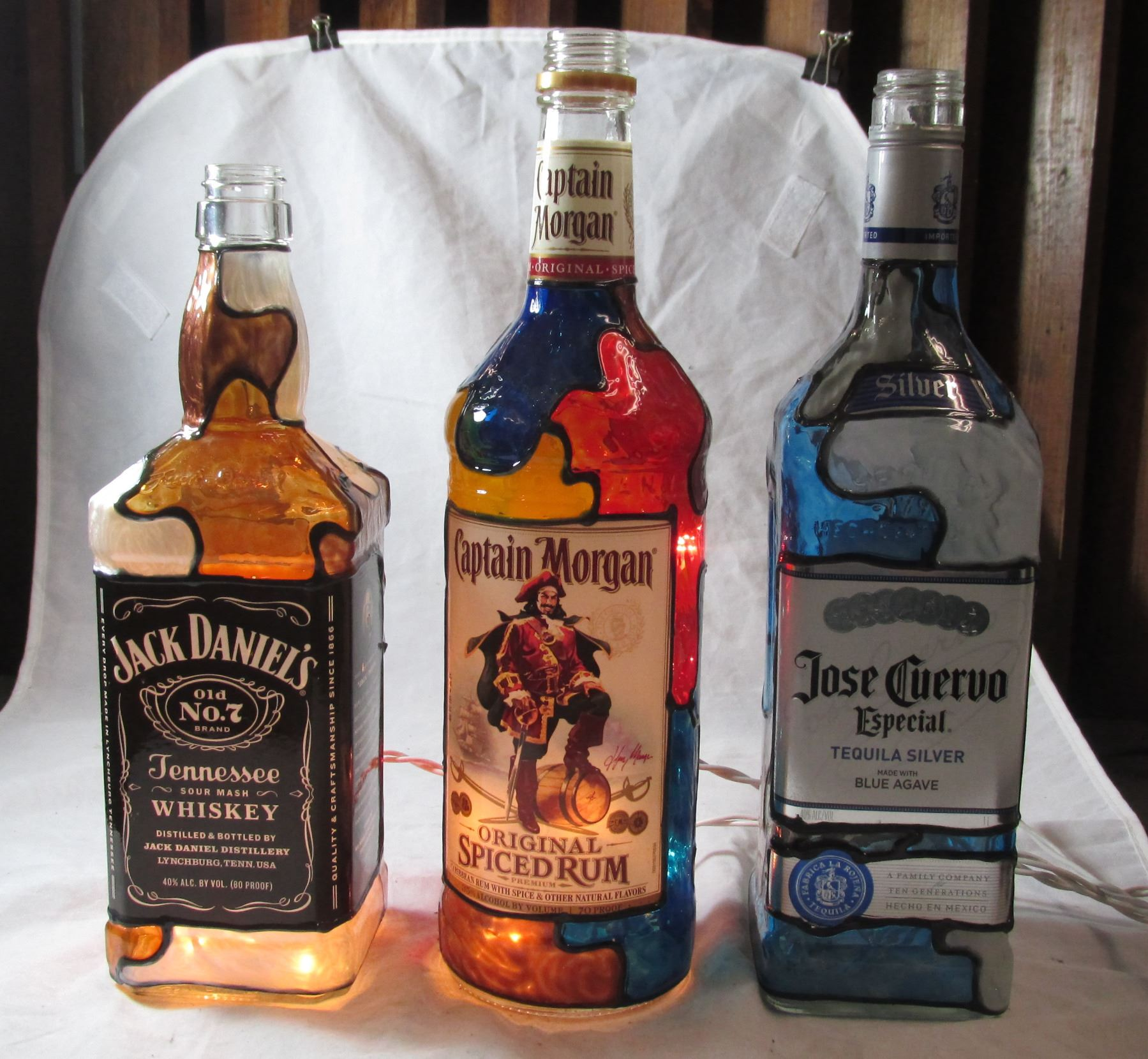 Lot Of 3 Upcycled Liquor Bottle Lamps; Jack Daniels, Captain Morgan And Jose