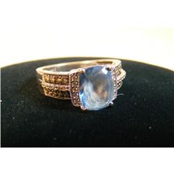 LeVian Blue Topaz Chocolate Diamond 14Kt Vanilla Gold Ring