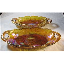 Amber Orange Carnival Glass Sandwich Dishes