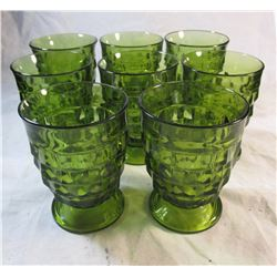 Set of 8 Vintage Green Water Goblets