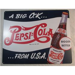 Vintage Look Pepsi Cola Tin Sign