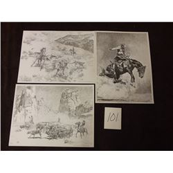 Lot of 3 Vintage Etching Prints by Buck Nimy