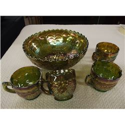 Carnival Glass Punch Bowl and 4 Cups