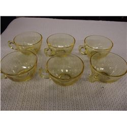 Set of 6 Amber Gold Etched Depression Glass Cups
