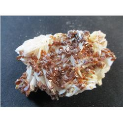 Vanadinite on White Barite from Morocco