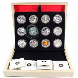 2013 Canada $10 O Canada 12-coin Fine Silver Coin Set in Deluxe Display Box (Outer sleeve missing &