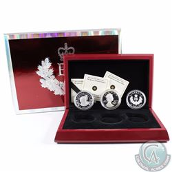 2012 Canada $20 Queen's Diamond Jubilee Fine Silver 3-Coin Set in Deluxe Display Case and Outer Box