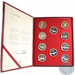 1937-1977 Air Canada 40th Anniversary Sterling Silver Aircraft 10-coin Medallion set in red leathere