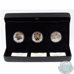"2016 Canada $10 Day of the Dinosaurs 3-coin Fine Silver Colourized Set in Black RCM Display Case (""T"