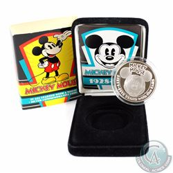 1993 Mickey Mouse 65th Anniversary 1oz .999 Fine Silver Proof Commemorative Coin with Special Displa