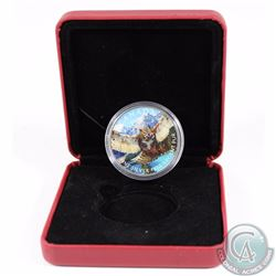 2015 Canada $5 Birds of Prey Great Horned Owl 1oz Fine Silver Colourized Coin in Red RCM Display Box