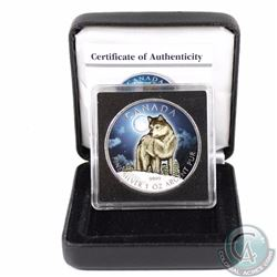 2011 Canada $5 Wildlife Series Wolf 1oz Fine Silver Colourized Coin in Special Display Box & COA (TA
