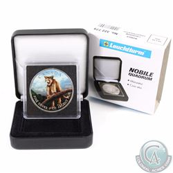 2012 Canada $5 Wildlife Series Cougar 1oz Fine Silver Colourized Coin in Black Display Box (TAX Exem