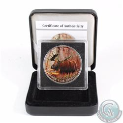 2012 Canada $5 Wildlife Series Moose 1oz Fine Silver Colourized Coin in Special Display Box & COA (T