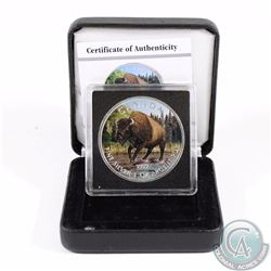 2013 Canada $5 Wildlife Series Bison 1oz Fine Silver Colourized Coin in Special Display Box & COA (T