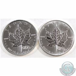1999-2000 & 2000 Canada $5 Fireworks Privy 1oz Fine Silver Maple Leafs (Coins are lightly toned). 2p