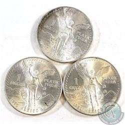 Lot of 3x 1oz .999 Fine Silver Mexican Libertads Dated 1984, 1985 & 1986 (Toning on coins). 3pcs (TA