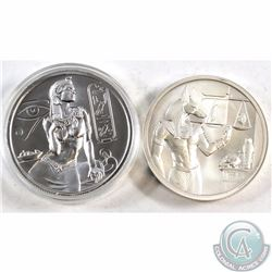 Anubis & Cleopatra 2oz .999 Fine Silver Rounds. Cleopatra comes encapsulated (Anubis is toned). 2pcs