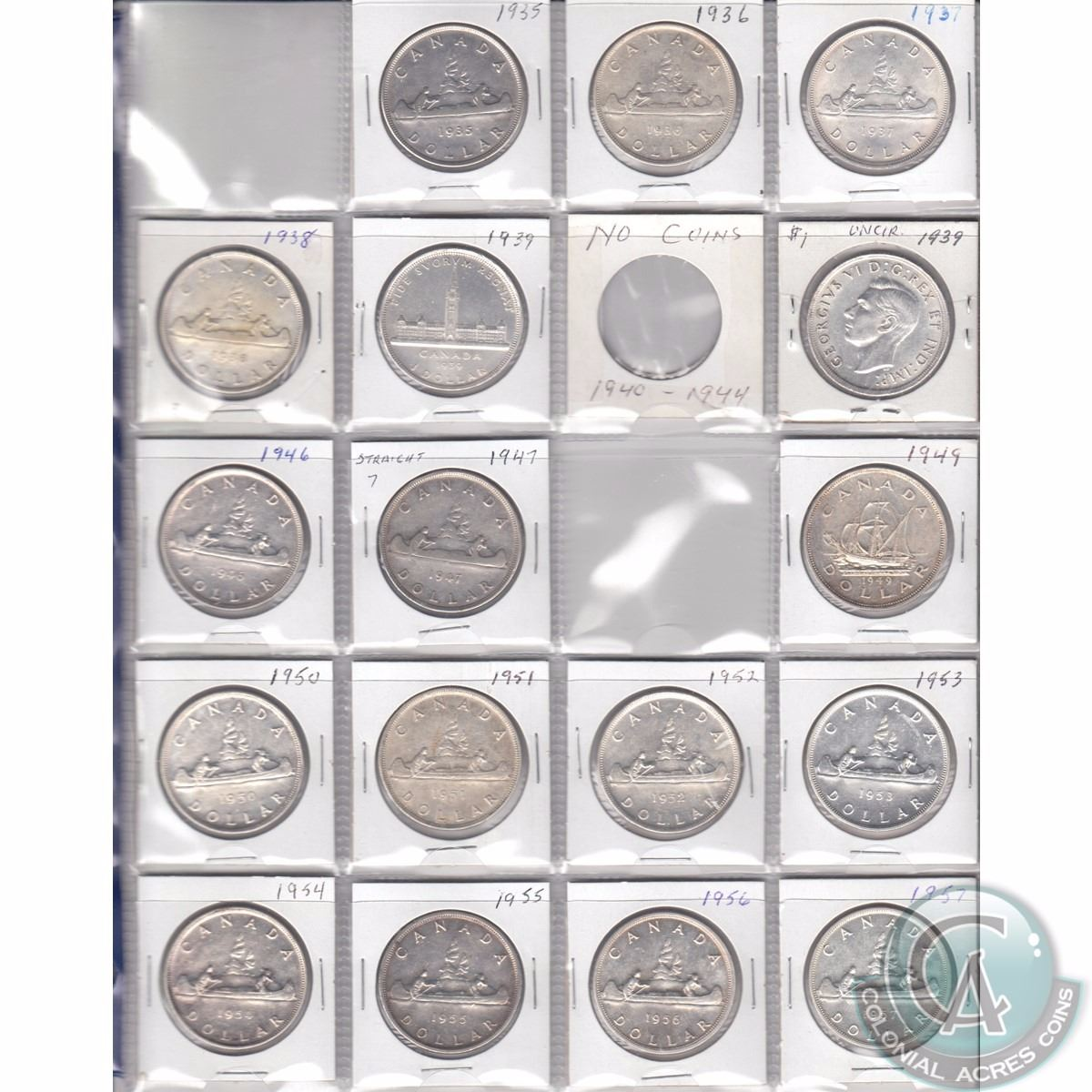 1935-1986 Canada Dollar Collection with display album. This lot ...