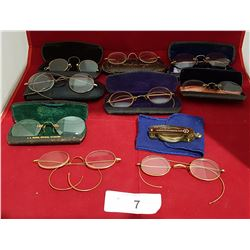 LOT OF 9 ANTIQUE SPECTACLES