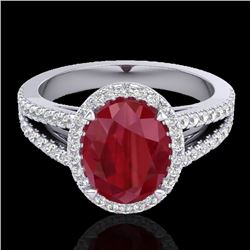 3 CTW Ruby & Micro Pave VS/SI Diamond Halo Solitaire Ring 18K White Gold - REF-78M2F - 20947
