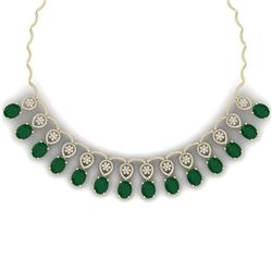 56.05 CTW Royalty Emerald & VS Diamond Necklace 18K Yellow Gold - REF-1145K5R - 39062
