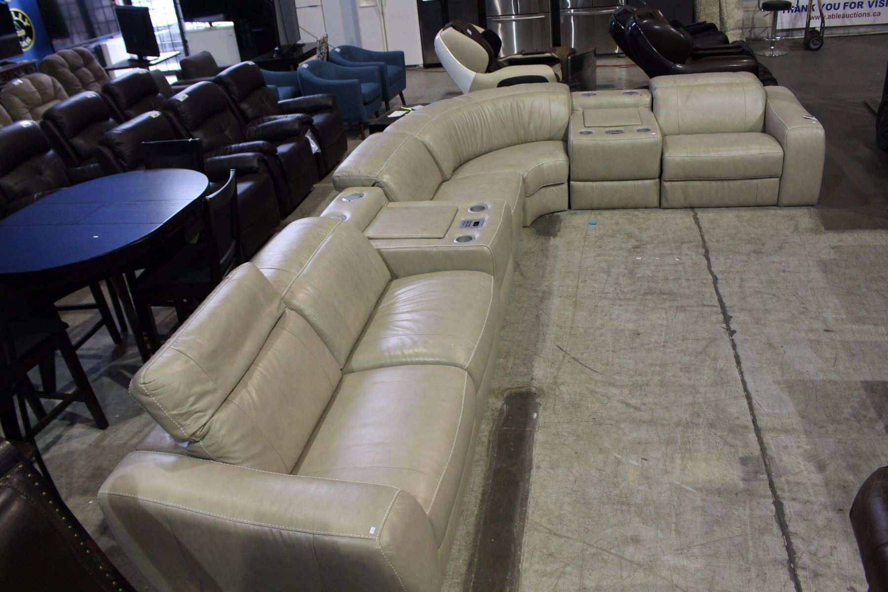 Image 1 : 7 PIECE LEATHER SECTIONAL SOFA SET WITH IPOD CONSOLES AND  SPEAKERS, CINDY ...