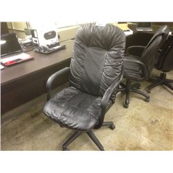 BLACK 'LEATHER' HIBACK EXECUTIVE CHAIR