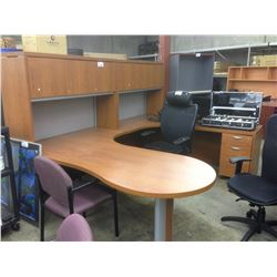 CHERRY U-SHAPED EXECUTIVE OFFICE SUITE WITH HUTCH