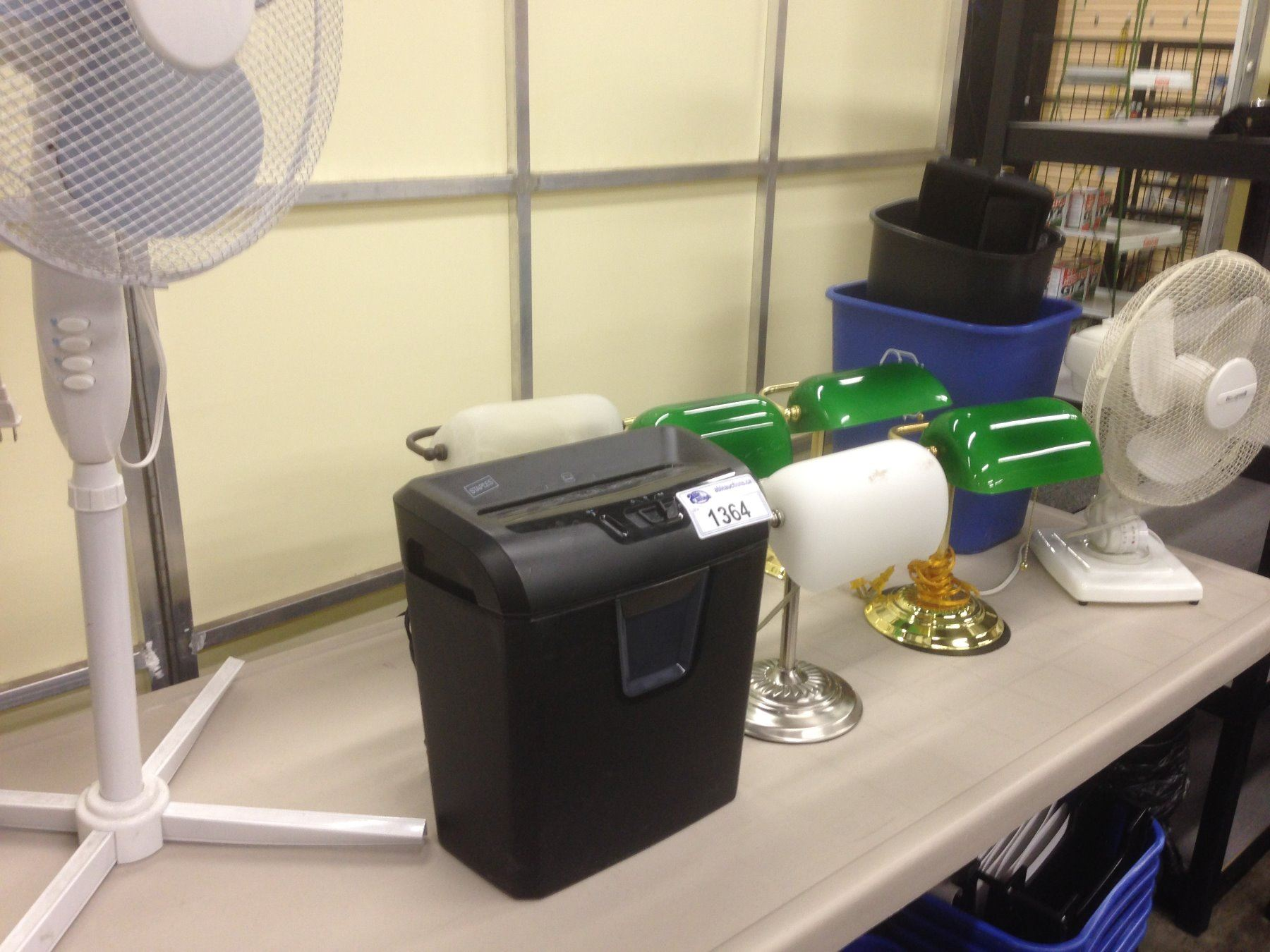 Image 1 Lot Of Office Items Inc Lamps Fan Garbage Cans And