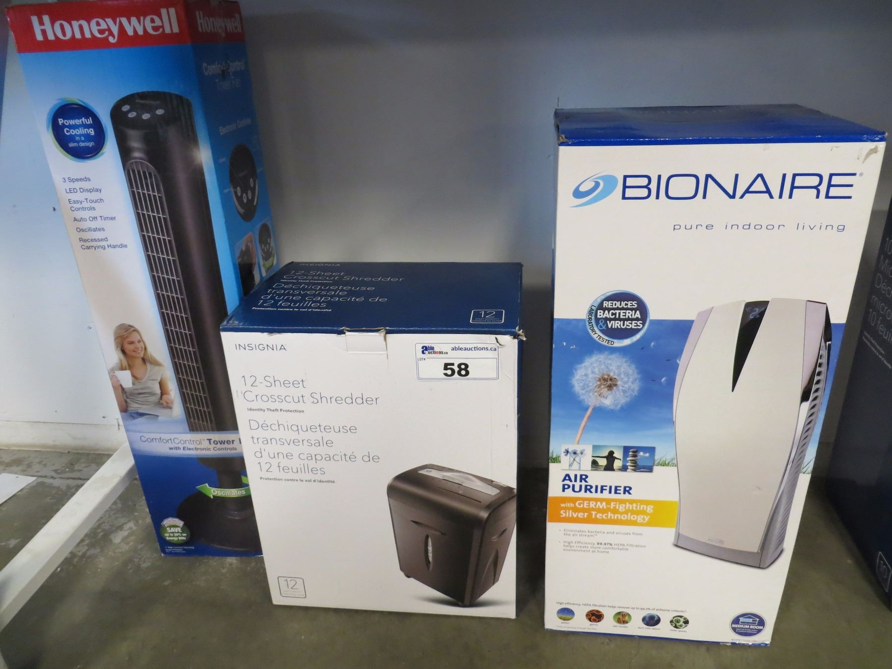 Image 1 BOXED HONEYWELL TOWER FAN BIONAIRE AIR PURIFIER 12 SHEET PAPER SHREDDER