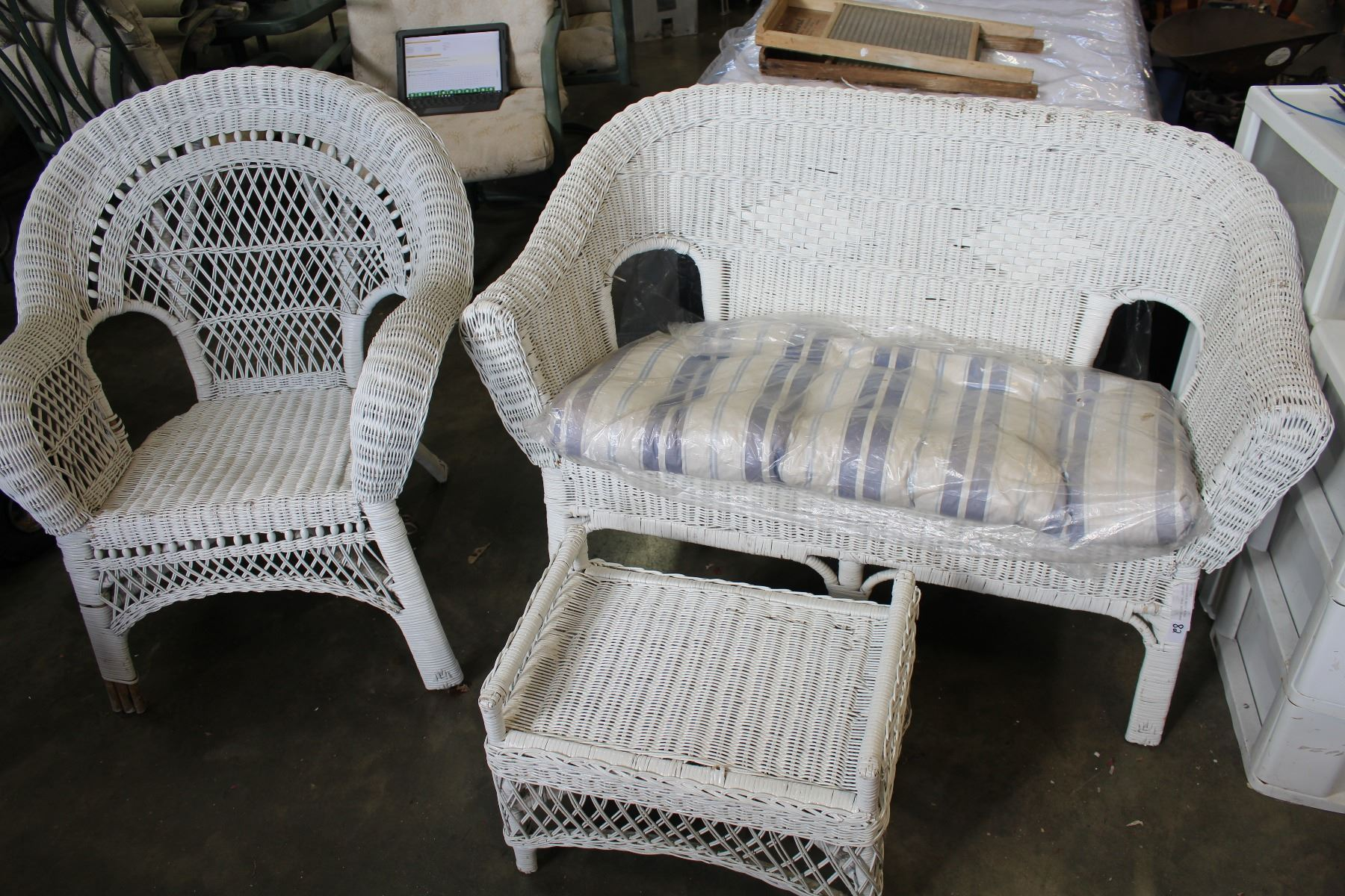 Three Piece White Wicker Loveseat Chair And Ottoman