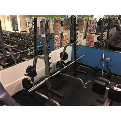 BODY SOLID FREE WEIGHT BENCH, INC. BAR, TOTAL OF 290 LBS OF WEIGHTS