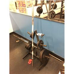 BICEP CURL BAR WITH 95 LBS  OF WEIGHTS, STAND, AND ADDITIONAL BAR