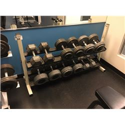 DUMBELL SET INC. PAIRS OF 35-80 LB WEIGHTS, RACK INCLUDED