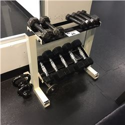DUMBELL SET INC. PAIRS OF 3-12 LB WEIGHTS, AND TWO KETTLE WEIGHTS, RACK INCLUDED