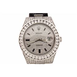 ROLEX: Stainless steel Rolex DateJust; (39) rb diamonds, 2.7mm =est. 2.80cttw, Good/H-I/SI2-I1; (98)